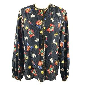 Maggy London Vintage Silk Holiday Christmas Top